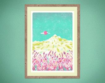 Mountain Flowers - A2 silkscreen Art Print