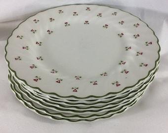 Vintage Laura Ashley Thistles bread plates, Laura Ashley plates made in England, 1980's vintage plates, seven thistle plates
