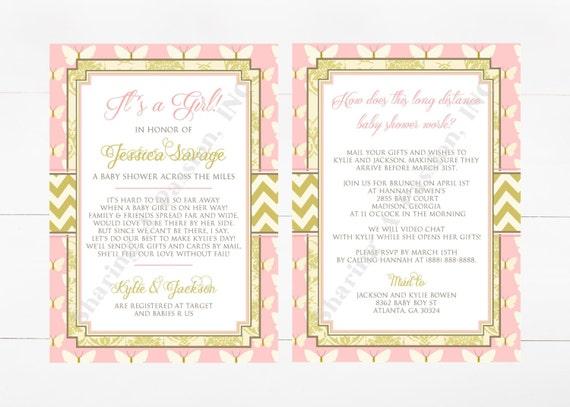Long Distance Relationship Wedding Invitation: Long Distance Baby Shower Invitation Shower By Mail Invite