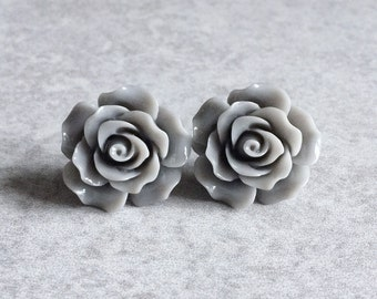 Gray Rose Earrings - 20mm Resin Cabochons, Silver Plated Stud Backs, Greyscale, Black, Neutral Tones, Flowers, Bridesmaid Jewelry, Studs