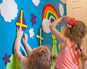 Kids Felt Wall - Rainbow Nature Activity. Montessori, Home School, Unschool, Preschool, Waldorf, Sensory Learning. 40+ pieces. 3x5 ft.