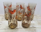Set of 5 Butterfly Glasses, 1970s Smokey brown, vintage glasses