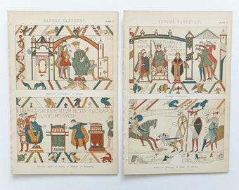 Bayeux Tapestry, Two antique pictures, Antique Prints, Battle of Hastings, History, 19th Century art