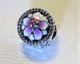 Pandora Sterling Silver  Magnolia Bloom, Pale Cerise Enamel & Pink CZ Charm