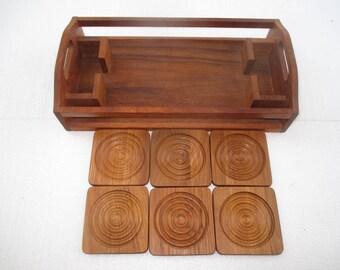 Vintage Baker, Hart & Stuart Dolphin TEAK Wood SERVING TRAY with 6 COASTERs Danish Denmark Retro 1970s Mid Century