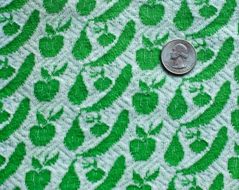 Vintage green and white fruit patterned fabric