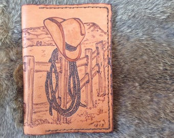 End of the Day leather field journal, cowboy passport wallet, travel journal, pyrography, refillable journal, leather passport cover