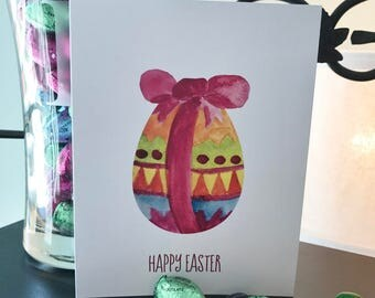 Beautiful Watercolor Easter Egg Card