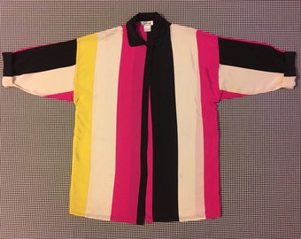 1990's, oversized, silk, tunic, collar shirt, in hot pink, black, ivory and yellow, Women's size US 4