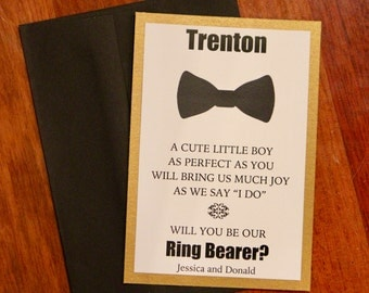 Will You Be Our Ring Bearer Card with Envelope ~ Unique Personalized Bridal Party Card