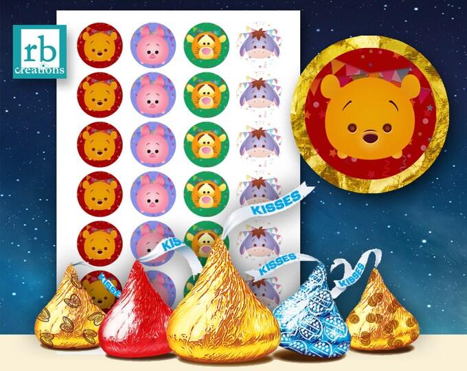 Pooh Hershey Kiss Sticker Files, Tsum Tsum Party, Tsum Tsum Stickers, Tsum Birthday, Tsum Tsum Party Supply - Avery label digital file