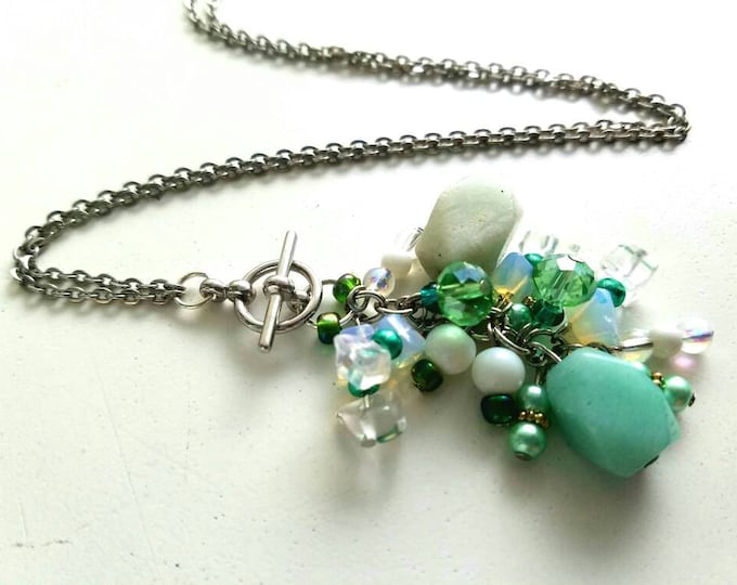 Interchangeable Green Mint Pale Sea Foam Green White Teal Cluster Toggle Pendant