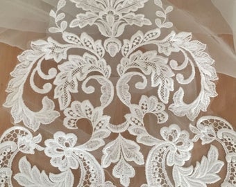 Beautiful ivory Venice lace applique for bridal gown, wedding dress straps,Bodice