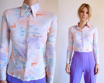 Vintage Shirt Pastel Silky 70s Long Sleeve Collared Blouse