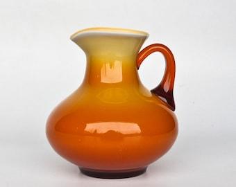 Vintage Cased Glass Vase  / Orange and White Glass Pitcher  / Retro 70's Vase