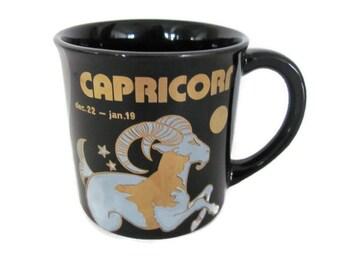 Vintage Capricorn Mug, 1970's Zodiac Sign, Astrology Mug, Coffee Cup, Gift for January, Capricorn Birthday, Mid Century, 1970's Decor