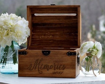 Keepsake Box For Baby Or Wedding, Wooden Memories Box, Card Box With Slot, Love Letters Box, 5th Anniversary Gift, Wedding  Memory Chest