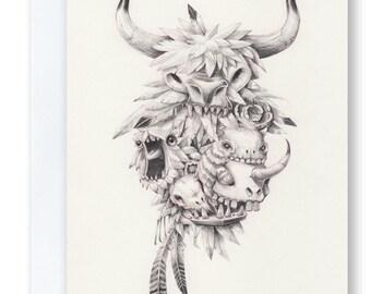 Teef, Feathers & Skullz - Greeting Card