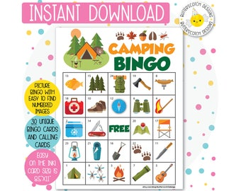 Camping Printable Bingo Cards 30 Different