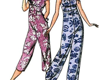 Misses' Loose-fitting Jumpsuit w/Raised Waist & Sideseam Pockets sizes XS-3X - 2 Views - Victoria Jones Sewing Pattern # 306