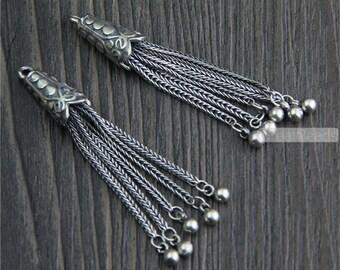 1pc Thai Sterling Silver Tassel Pendant 48mm Solid 925 Silver Chain Tassel Vintage Style Sterling Silver Fringe Pendant LT08