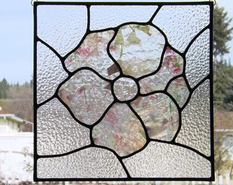 Stained Glass Flower Panel Pink Confetti Clear Textured Glass Art Free Domestic Shipping