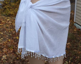 White Sarong / Coverup / Bathing Suit Wrap