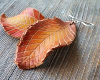 Falling leaves.Leather earrings. Brown&Gold.