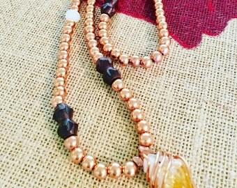 Sale!!! 39.99 Was 59.99 Citrine quartz / long necklace/ copper beads/ boho necklace