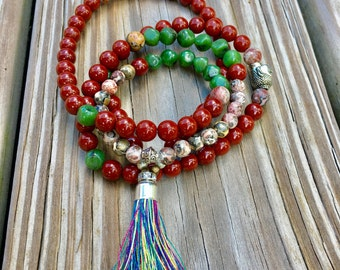 SALE!! 39.99   Was 45    108 Gemstone mala beads/ mala necklace/meditation necklace / silk tassel necklace/ Jasper mala Necklace/mala/yogi