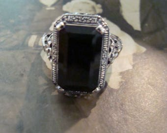 Lovely Classic Sterling Silver Black Onyx Ring  Size 9.5