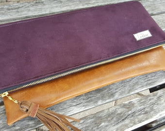 Fold Over Clutch, Purple Clutch, Suede, Vegan Leather Bag, Clutch Bag, Leather Clutch, Wristlet Hand Bag