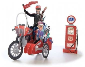3D Pop Up Motorbike and gas station Greeting Card / Motorbike Birthday card