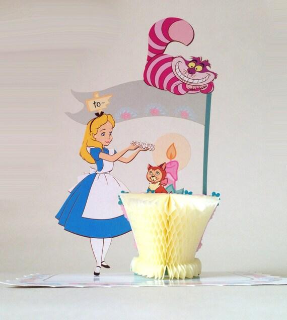 Disney Alice in wonderland cake toppers Alice greeting card – Alice in Wonderland Birthday Cards