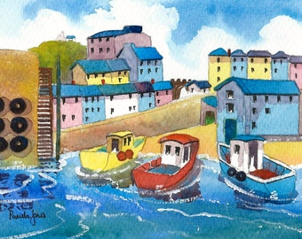 Watercolour Print, Tenby Harbour, Pembrokeshire, Wales, UK, 14ins x 11ins, Christmas Gift Idea, Art and Collectables, Home and Living