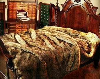 Plush Faux Fur Bedspread - Golden Brown Wolf - Coyote Design - Designer Throws by Fur Accents USA