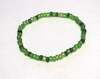 Green Seed Bead Stretch Bracelet. Multicolored green bracelet. Lime green, dark green stretchy bracelet. Customizable bracelet.