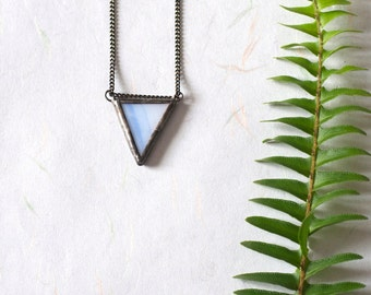 Little white and blue triangle stained glass pendant