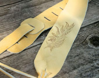 Leather Guitar Strap Feather guitar strap