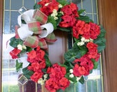 Red Geranium Wreath - Summer wreaths - Mothers day gift - door wreath - Front door decor - burlap bow - Home decor - porch decoration