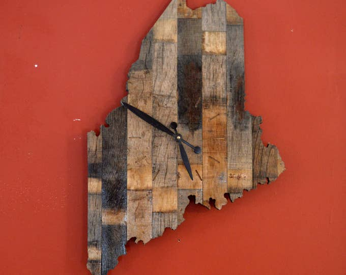 Maine State Whiskey Barrel Cut Out Clock