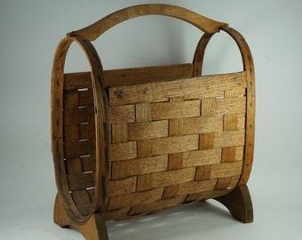 Split Oak Storage Basket, Woven Split Oak Oval Newspaper Magazine Basket w/ Handle, Vintage Log, Wood Basket Free Shipping
