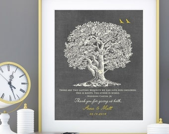 Parent Wedding Gift, Brides Parents, Grooms Parents, Mother of the Groom, Mother of Bride, Wedding Tree Art Print 8 x 10