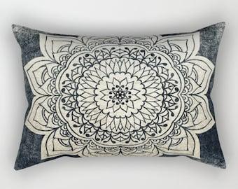 DEEP GOLD MANDALA Bohemian Rectancular Pillow