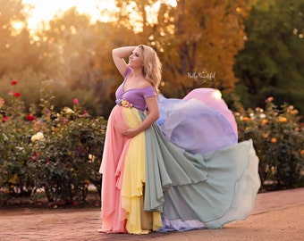 HOPE Gown {Pastel} •  Rainbow Baby Line • Rainbow Maternity Gown • Multi-layer Chiffon Dress • Chiffon Gown • by Sew Trendy