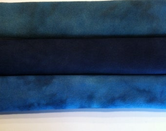 BLUES #2  hand dyed and felted wo for rug hooking  and other fiber arts projects