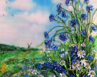 "picture ""Cornflowers"",  Silk ribbon embroidery landscape,wildflowers,"