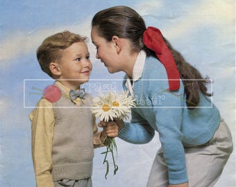 Children V-Neck Pullover 4-8 years DK Sirdar 657  Vintage Knitting Pattern PDF instant download