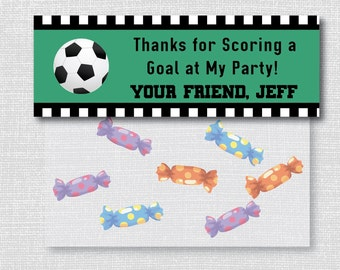 Boy Soccer Themed Treat Bag Toppers - Soccer Party Favor - Digital Design or Handcrafted - FREE SHIPPING