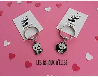 Set of 2 Couple Panda Keychains His and Hers Couple Keychains Mom Dad Child Best Friends Keychains Valentine's Keychains  (Style 6)